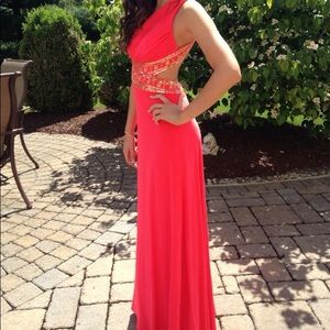 Coral and Gold open back Prom Dress/gown
